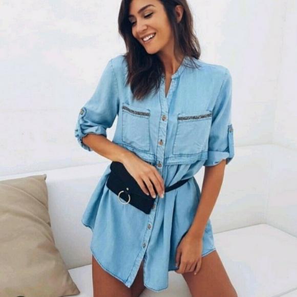 ZARA Tencel lyocell denim shirt dress